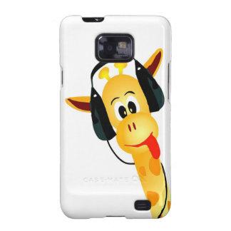 jirafa divertida con los auriculares galaxy s2 fundas