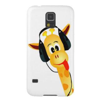 jirafa divertida con los auriculares