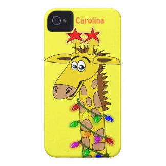 Jirafa divertida con navidad caprichoso de las funda para iPhone 4