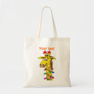 Jirafa divertida con navidad caprichoso de las luc bolsa tela barata