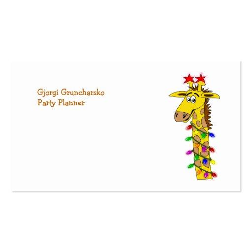 Jirafa divertida con navidad caprichoso de las luc tarjeta de visita