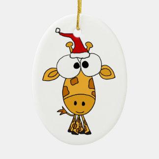 Jirafa divertida en arte del navidad del gorra de adorno navideño ovalado de cerámica