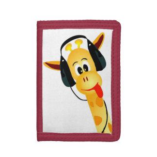 jirafa divertida fresca con los auriculares