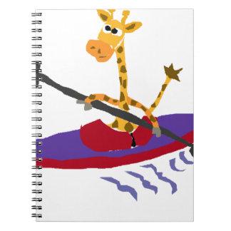Jirafa divertida Kayaking Libro De Apuntes Con Espiral