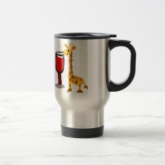 Jirafa divertida que bebe el dibujo animado del taza térmica