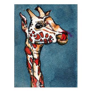 jirafa en azul tarjeta postal