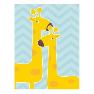 Jirafa en el galón del zigzag - azul en colores pa tarjetas postales