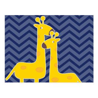 Jirafa en el galón del zigzag - azul tarjeta postal