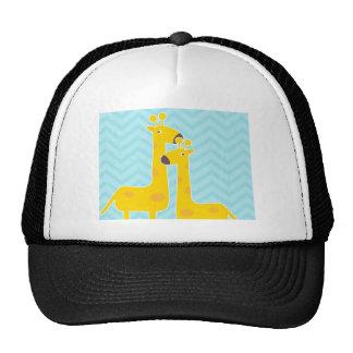 Jirafa en el modelo del galón del zigzag - azul en gorras