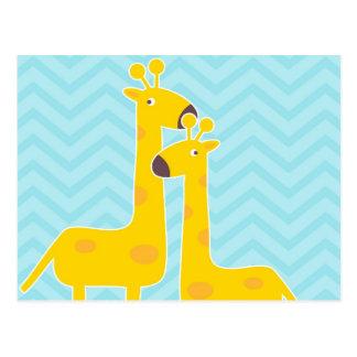 Jirafa en el modelo del galón del zigzag - azul en tarjeta postal