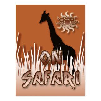 Jirafa en las postales del safari
