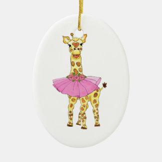 Jirafa en tutú adorno navideño ovalado de cerámica