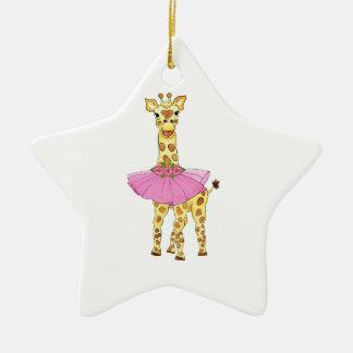Jirafa en tutú adorno de cerámica en forma de estrella
