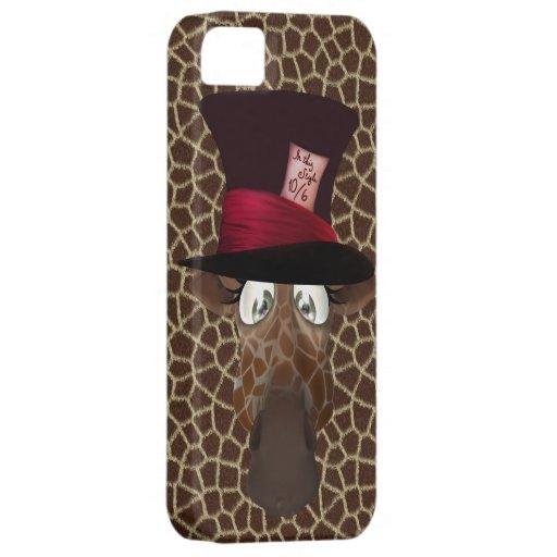 Jirafa enojada linda del sombrerero iPhone 5 coberturas