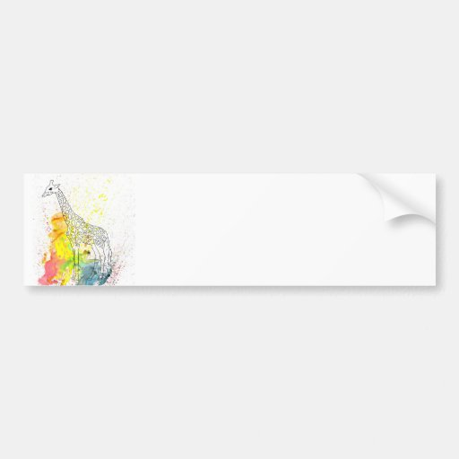 Jirafa enrrollada multicolora (arte de K.Turnbull) Etiqueta De Parachoque