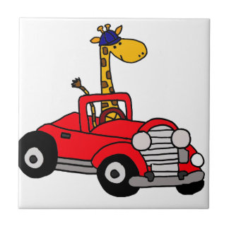 Jirafa enrrollada que conduce el convertible rojo azulejo