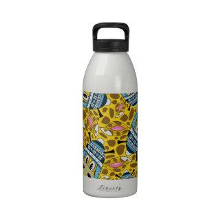 Jirafa lanosa del gorra del dibujo animado lindo botella de agua