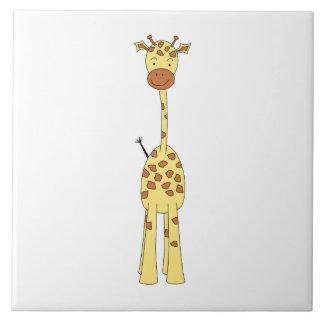 Jirafa linda alta. Animal del dibujo animado Azulejo Cuadrado Grande