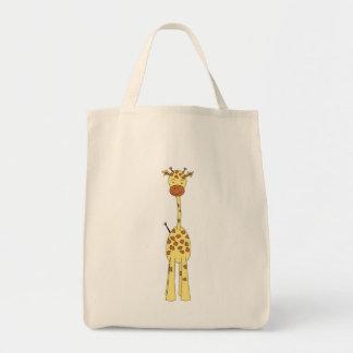 Jirafa linda alta. Animal del dibujo animado Bolsa Tela Para La Compra