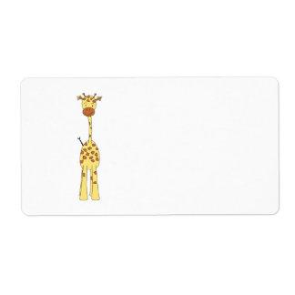 Jirafa linda alta. Animal del dibujo animado Etiqueta De Envío