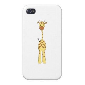 Jirafa linda alta. Animal del dibujo animado iPhone 4 Carcasas