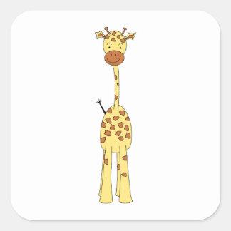 Jirafa linda alta. Animal del dibujo animado Pegatina Cuadrada