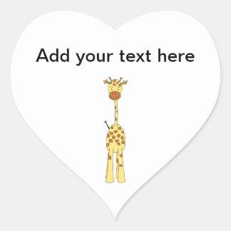Jirafa linda alta. Animal del dibujo animado Pegatina En Forma De Corazón