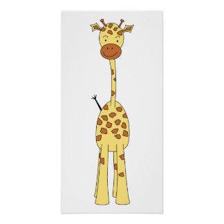 Jirafa linda alta. Animal del dibujo animado Perfect Poster