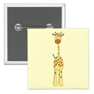 Jirafa linda alta. Animal del dibujo animado Pin Cuadrado