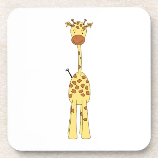 Jirafa linda alta. Animal del dibujo animado Posavasos
