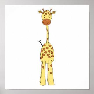 Jirafa linda alta. Animal del dibujo animado Póster