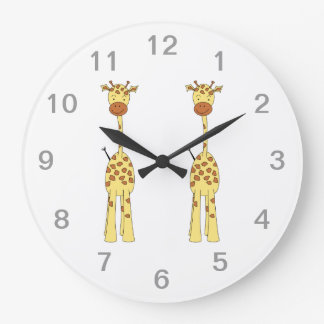Jirafa linda alta. Animal del dibujo animado Reloj