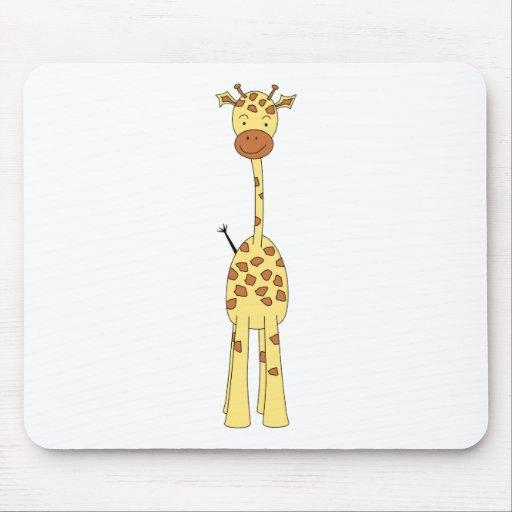 Jirafa linda alta. Animal del dibujo animado Alfombrillas De Raton