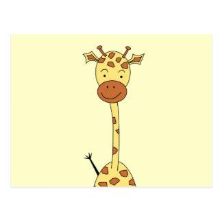 Jirafa linda alta. Animal del dibujo animado Postal