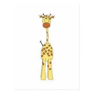 Jirafa linda alta. Animal del dibujo animado Tarjetas Postales