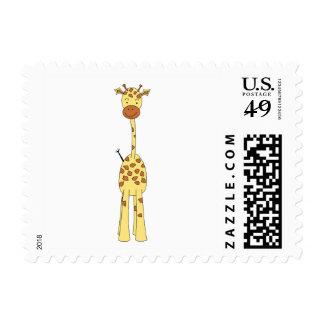 Jirafa linda alta. Animal del dibujo animado Timbre Postal