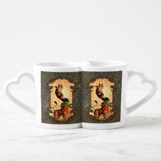 Jirafa linda con el dragón, tan divertido set de tazas de café