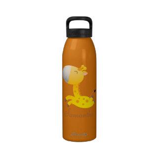 Jirafa linda del dibujo animado 24 onzas botellas de agua reutilizables