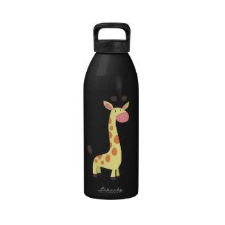 Jirafa linda del dibujo animado botella de agua reutilizable