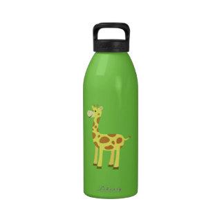 Jirafa linda del dibujo animado botellas de agua reutilizables