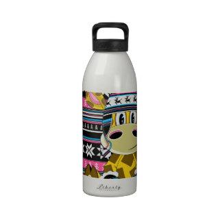 Jirafa linda del dibujo animado botella de agua
