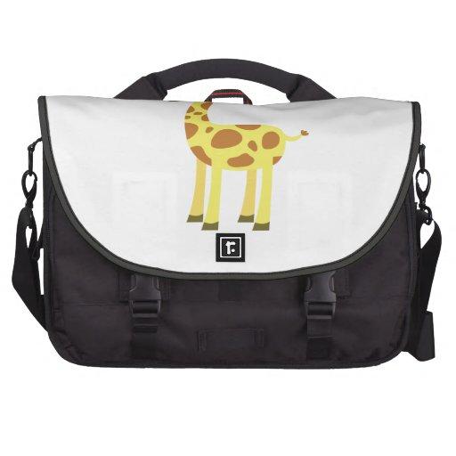 Jirafa linda del dibujo animado bolsas de portatil