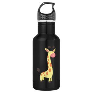 Jirafa linda del dibujo animado botella de agua de acero inoxidable
