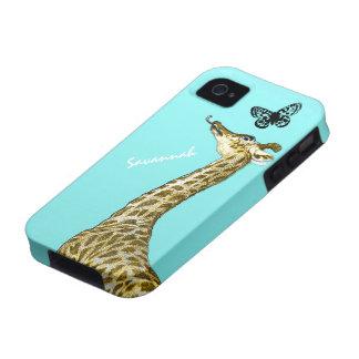 Jirafa linda del vintage que lame una mariposa en vibe iPhone 4 funda