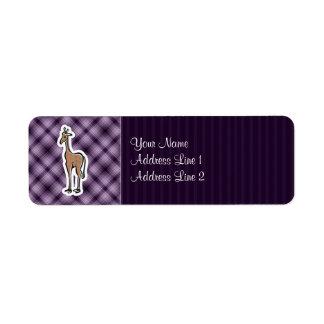 Jirafa linda; Púrpura Etiquetas De Remite