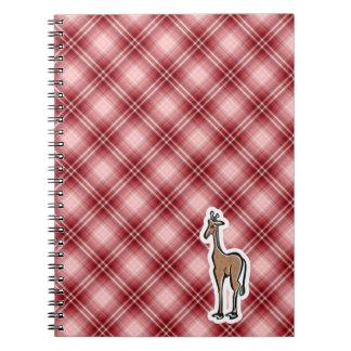 Jirafa linda; Tela escocesa roja Cuadernos