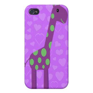 Jirafa linda y corazones púrpuras y verdes del dib iPhone 4 fundas