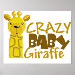 jirafa loca del bebé poster