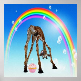 Jirafa magdalena y arco iris caprichosos divertid posters