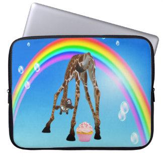 Jirafa magdalena y arco iris lindos divertidos manga portátil